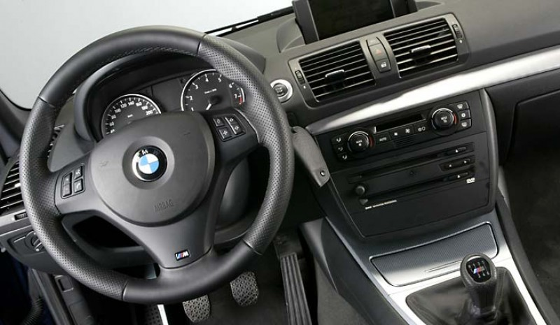 The steering wheel has a sporty air in this BMW 130i.