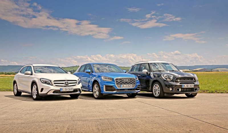 The new Audi Q2, compared to Mercedes GLA and the Mini Countryman